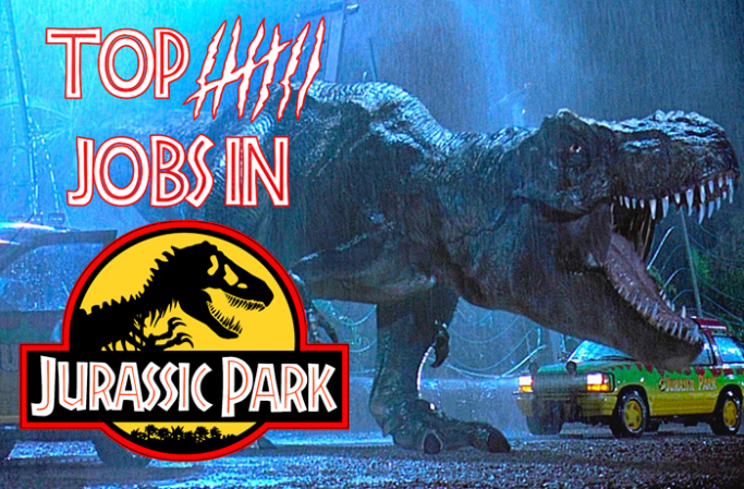 "Jurassic Park T-rex with text ""Top VII jobs in Jurassic Park"""