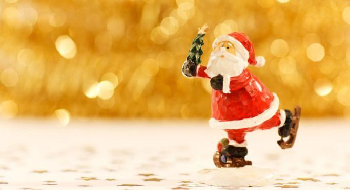Model Santa with a Xmas tree