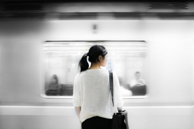 Photo of a girl on her way to work