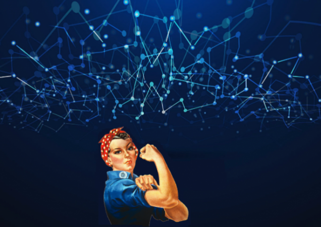 Rosie the riveter on tech background