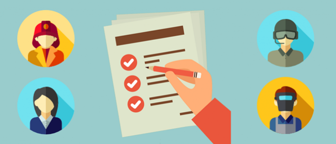 Checklist with job role icons