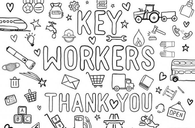 """A hand-drawn picture of different key worker professions with the text """"Key workers - thank you"""""""