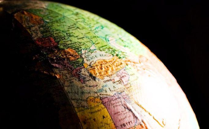 Globe with a dark background