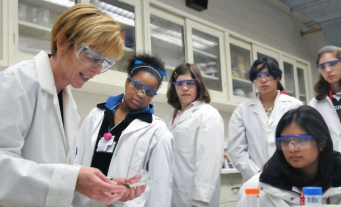 Students studying science with their teacher in a lab