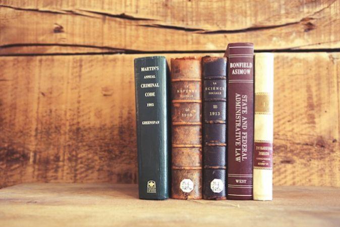 Books standing on a shelf