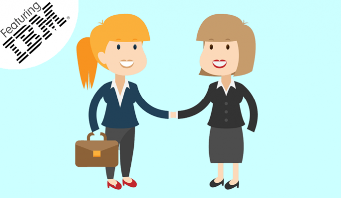 Two businesswomen shaking hands