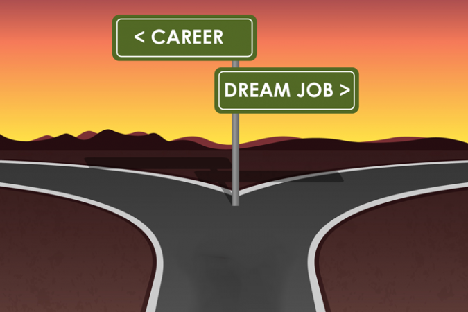 "Graphic showing crossroads with roadsigns saying ""Career"" and ""Dream job"""
