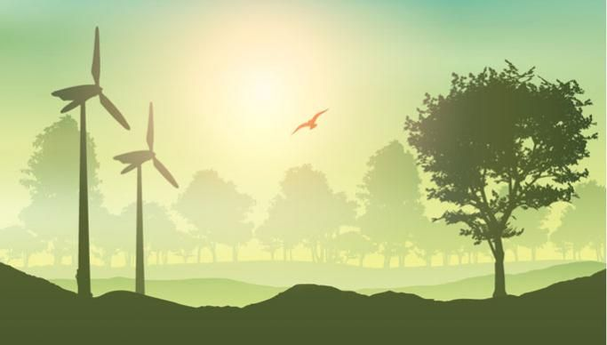 Wind turbines in distance