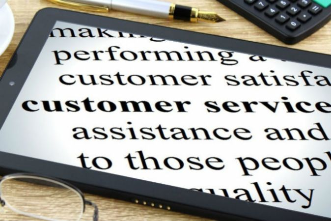 Information about customer service jobs on a tablet