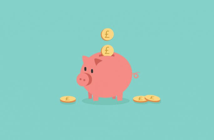 Piggy bank graphic on a green background