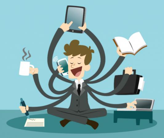 Businessman multi-tasking using transferable skills