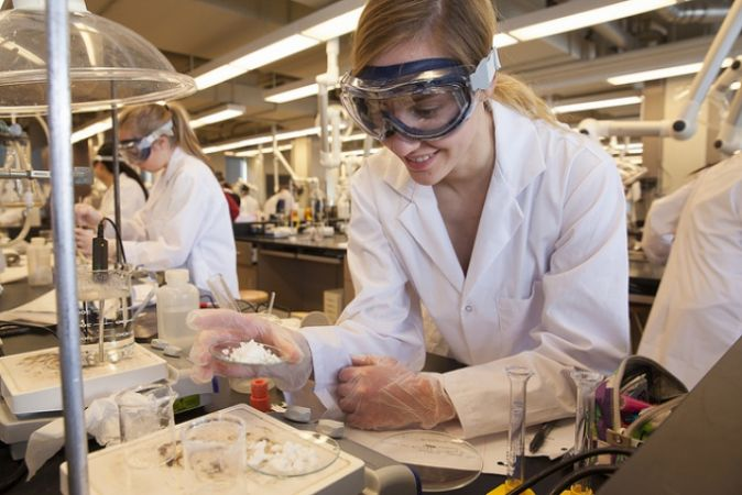 Student in a science lab