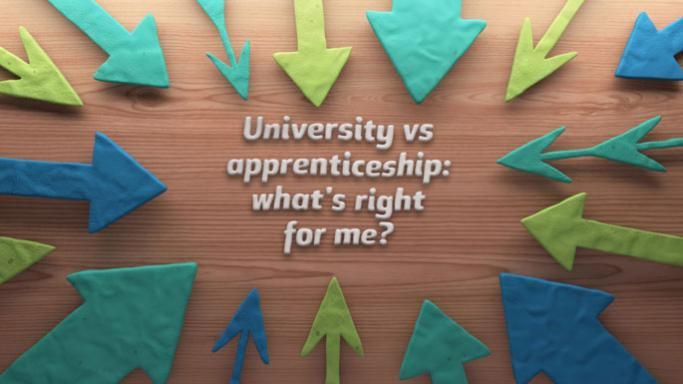 "Video screenshot showing the text ""University vs apprenticeships: What's right for me?"""