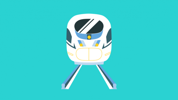 Graphic of a passenger train head on
