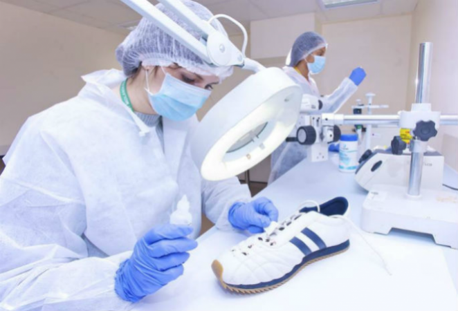 forensic scientist in a lab
