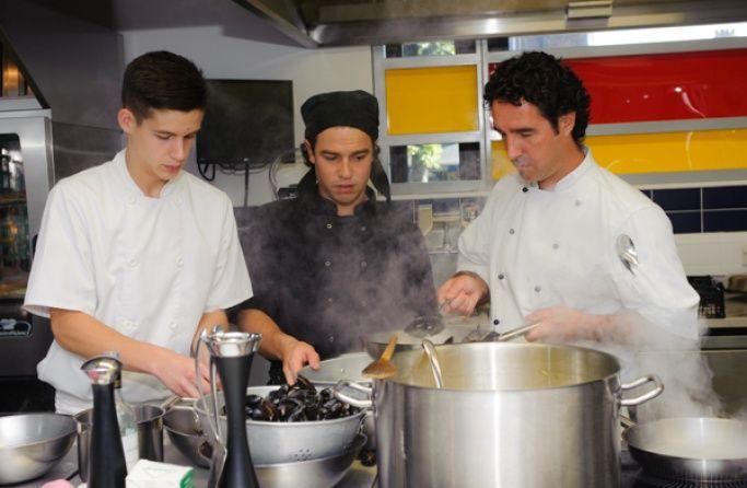 Trainee chefs in a kitchen