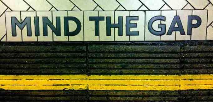 Mind the gap painted on floor