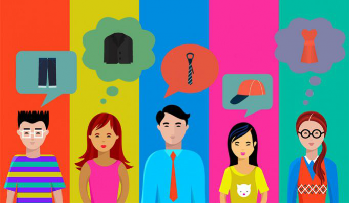 A graphic showing young people wondering what to wear to work experience or an interview