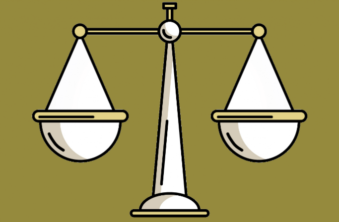 Justice scales representing law apprenticeships