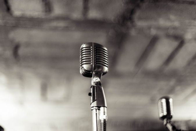 Photo of a microphone, career in music
