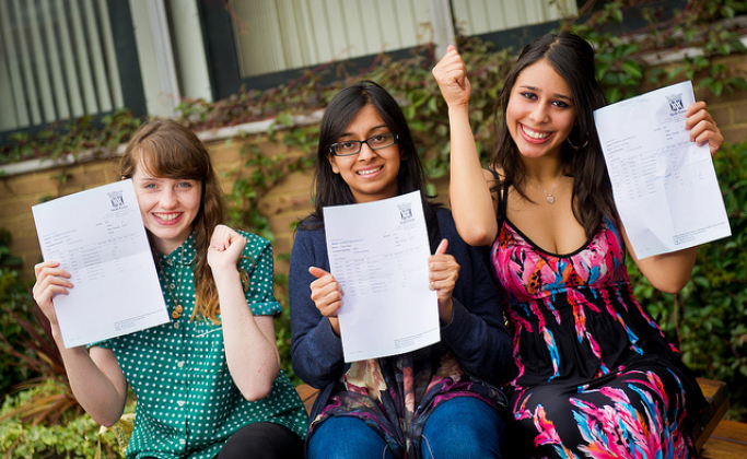 Three girls with their A-level results