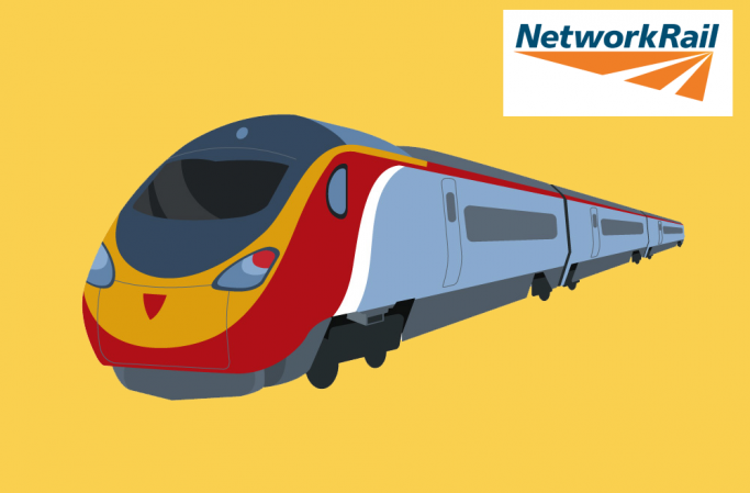 Train graphic with Network Rail logo