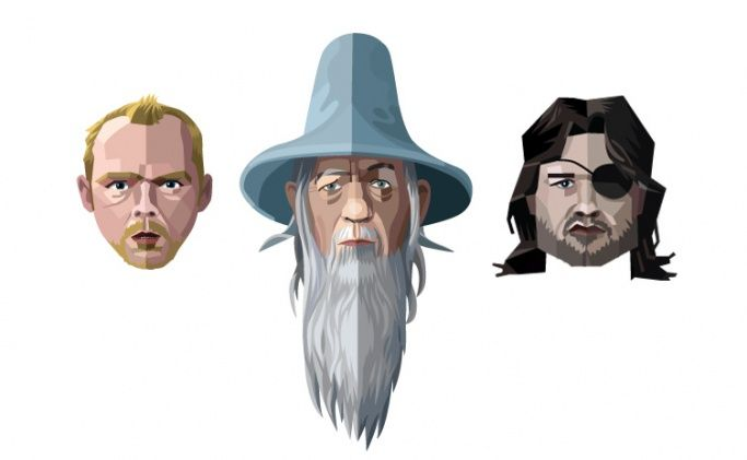 Simon Pegg, Gandalf and Kurt Russel graphic images