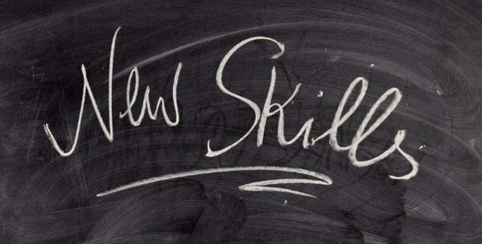 New skills written on blackboard