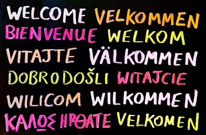 The word 'welcome' in several languages