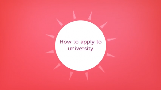 Screenshot from how to apply to university video
