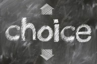 "The word ""choice"" written on a blackboard"