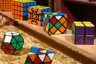 A set of Rubix cubes in different shapes and sizes
